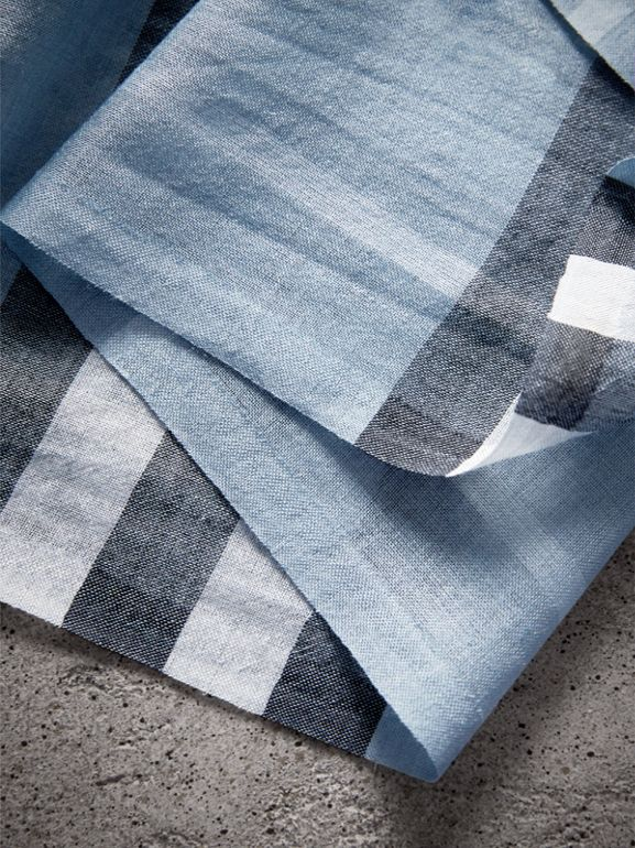 Lightweight Check Wool and Silk Scarf in Dusty Blue - Women | Burberry United Kingdom - cell image 1