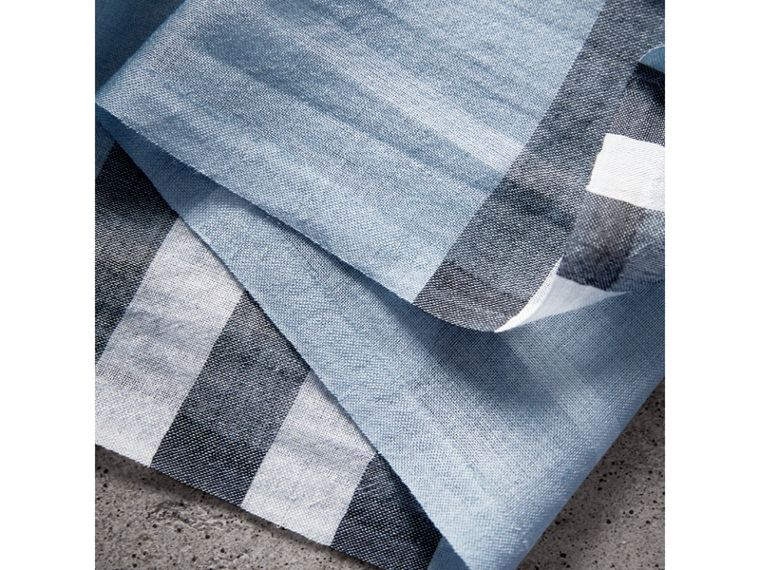 Lightweight Check Wool and Silk Scarf in Dusty Blue - Women | Burberry - cell image 1