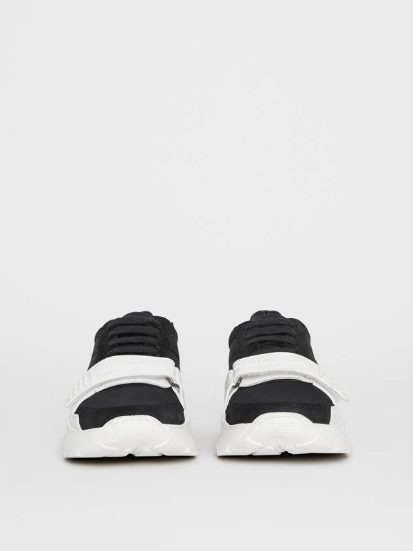 Suede, Neoprene and Leather Sneakers in Black/optic White - Women | Burberry - cell image 3
