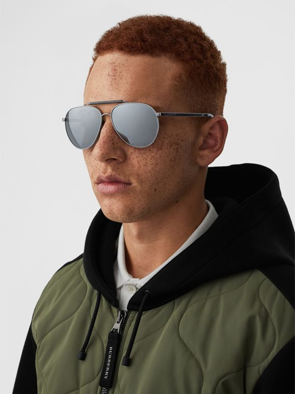 Top Bar Detail Pilot Sunglasses in Grey - Men | Burberry - cell image 2