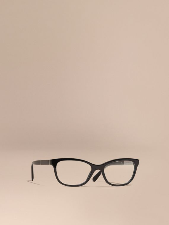 Check Detail Oval Optical Frames Black