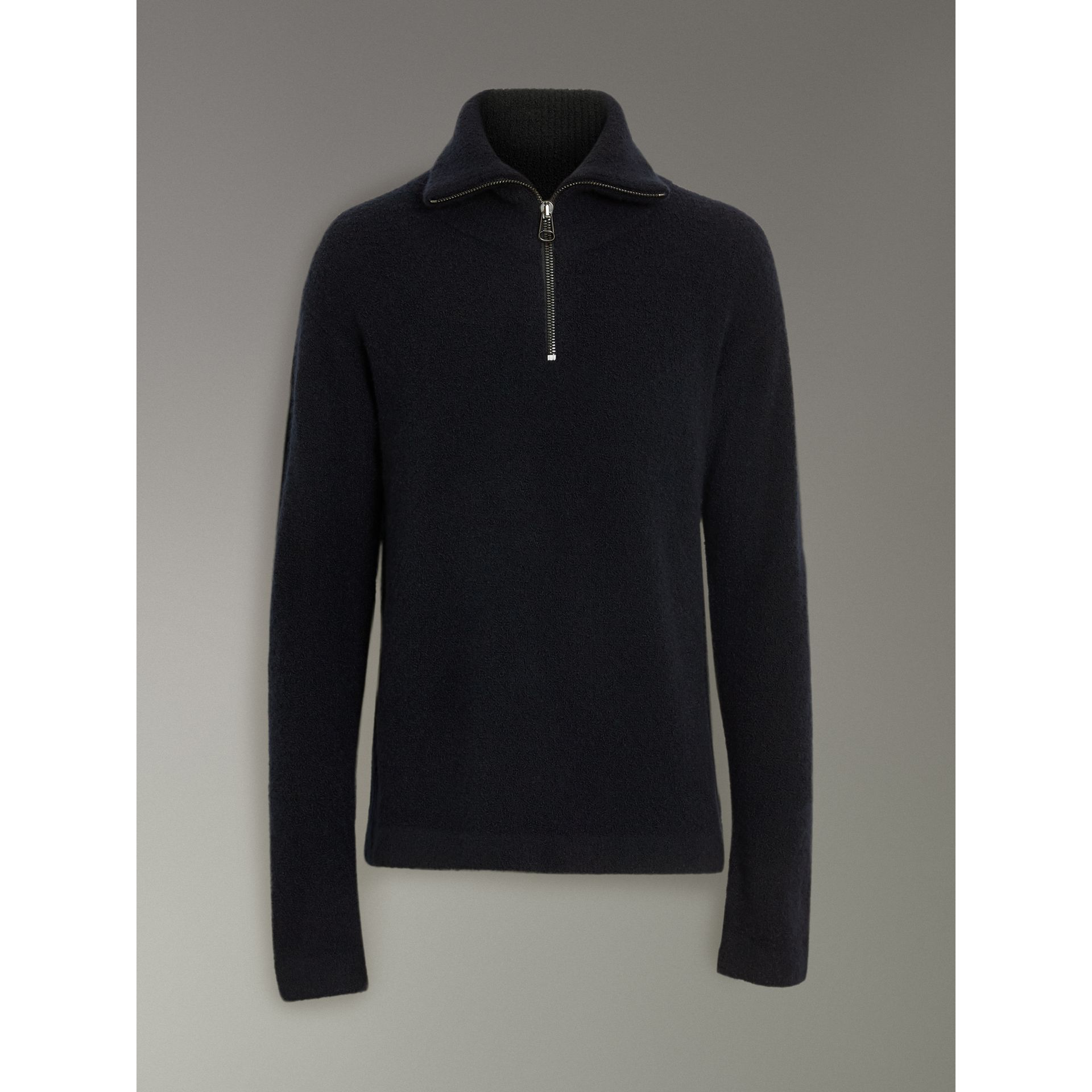 Zip-neck Cashmere Blend Fleece Sweater in Navy - Men | Burberry United States - gallery image 3