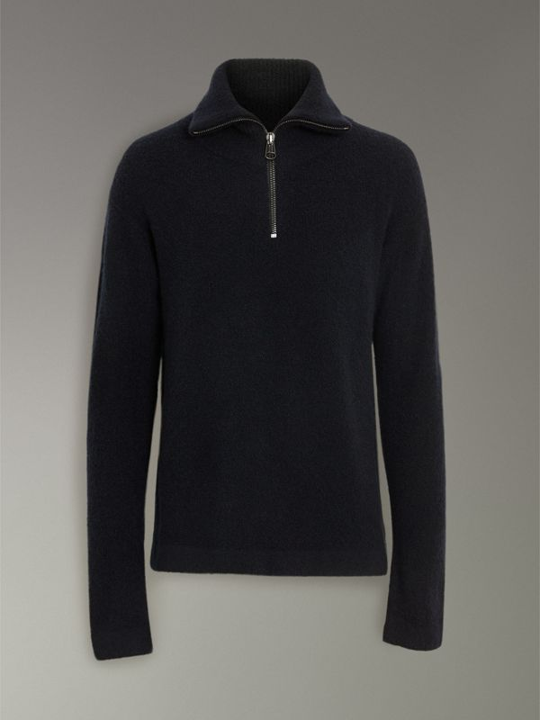 Zip-neck Cashmere Blend Fleece Sweater in Navy - Men | Burberry - cell image 3