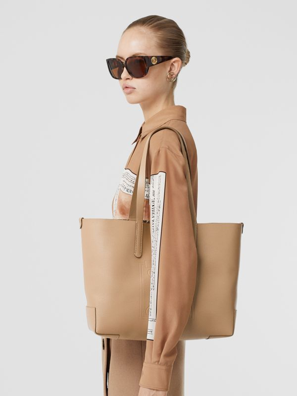 Embossed Monogram Motif Leather Tote in Camel - Women | Burberry United Kingdom - cell image 2