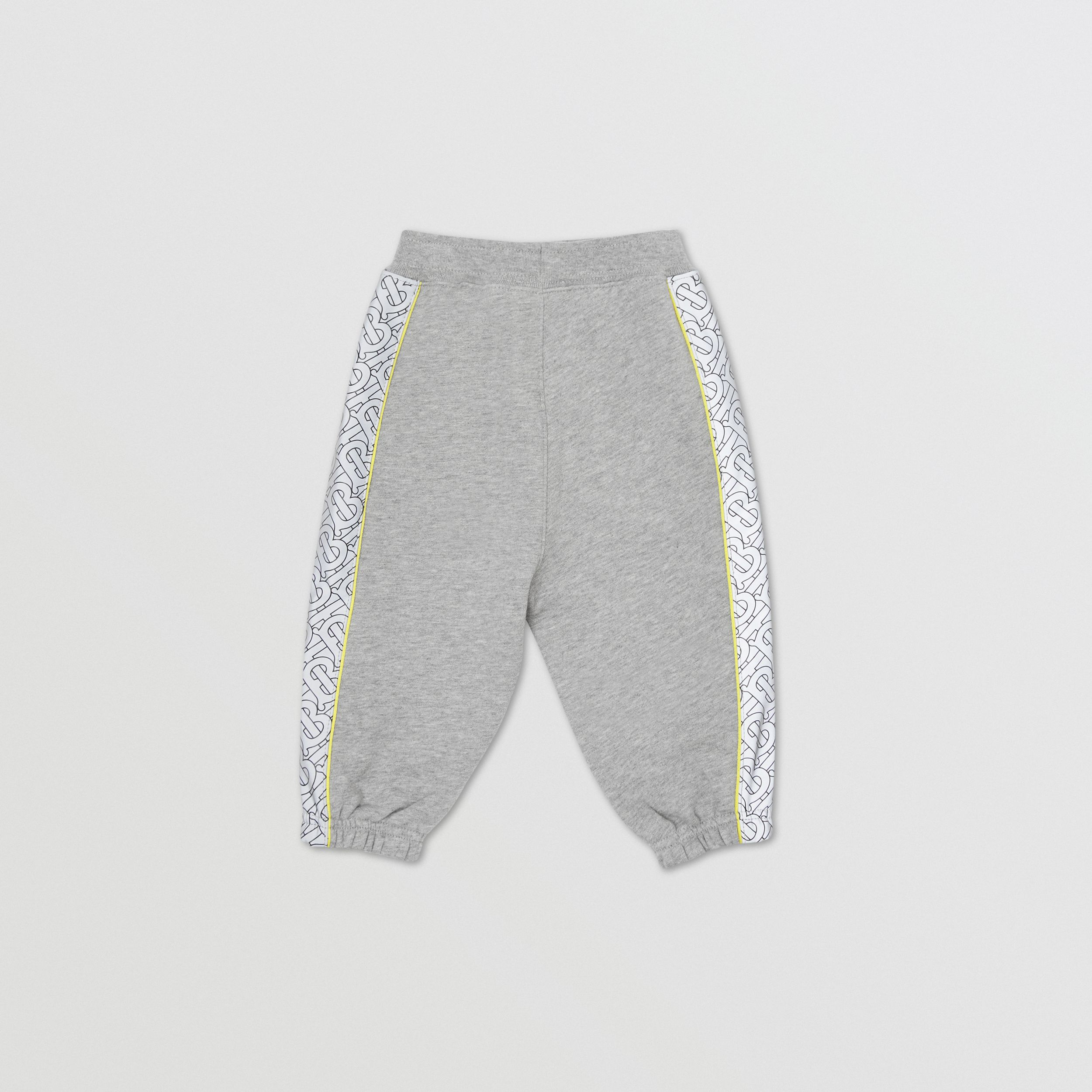 Monogram Print Panel Cotton Jogging Pants in Grey Melange - Children | Burberry - 4