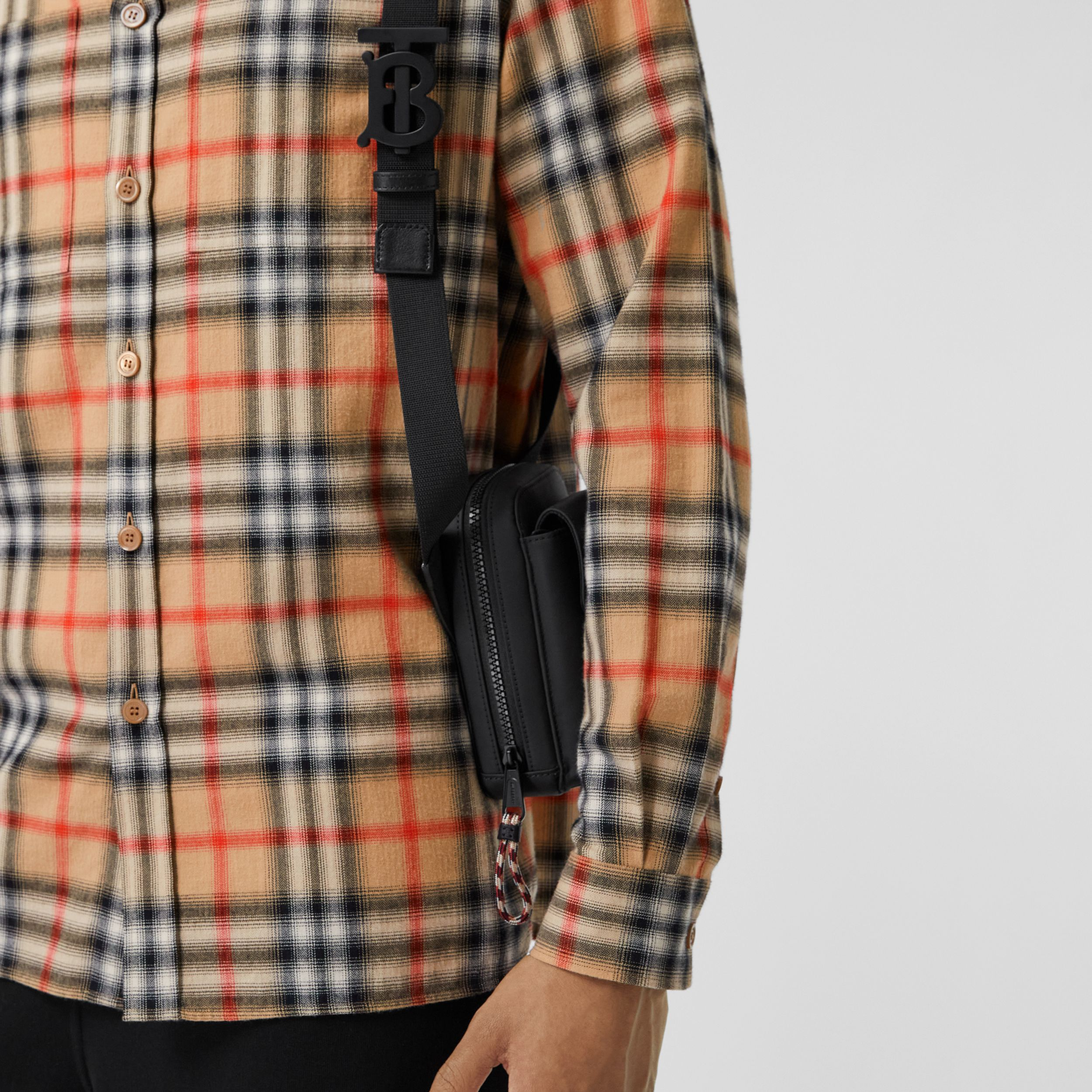Horseferry Print Coated Canvas Crossbody Pouch in Black - Men | Burberry Singapore - 4