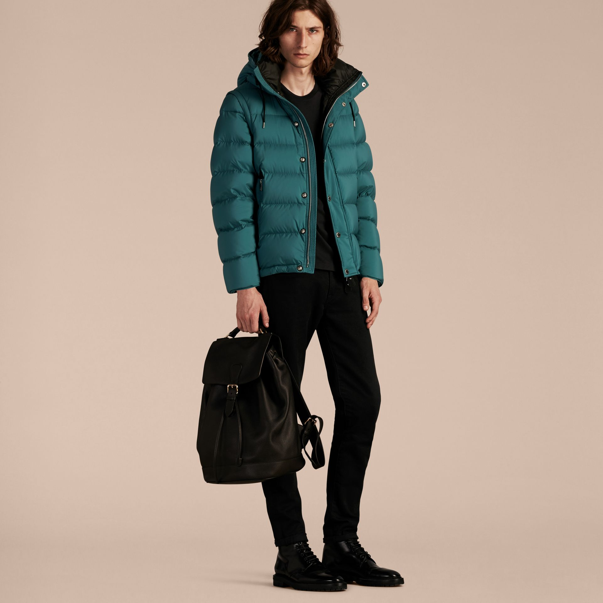 Down-filled Hooded Jacket with Detachable Sleeves in Dusty Teal - gallery image 7