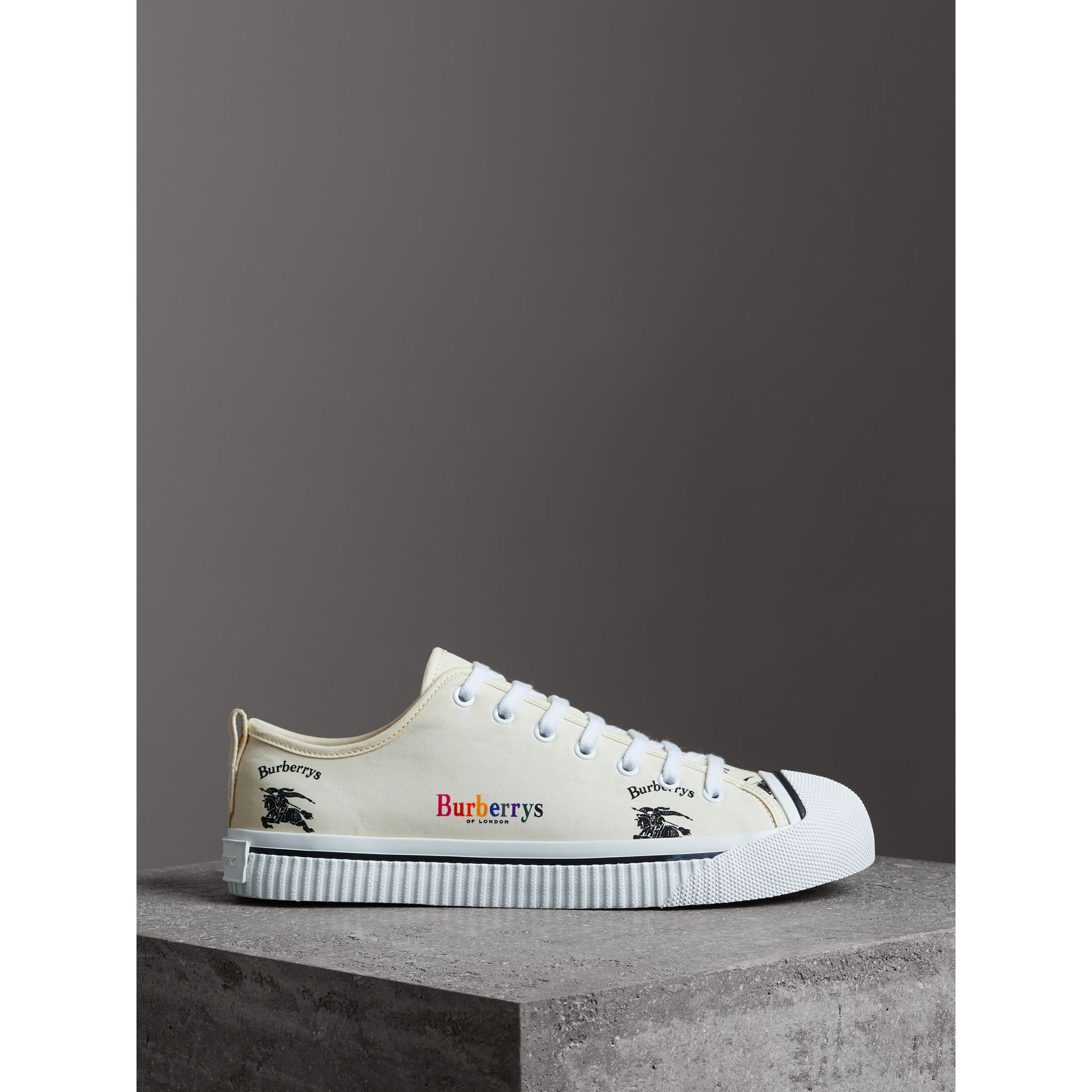 Archive Logo Cotton Gabardine Sneakers in Off White | Burberry - gallery image 4