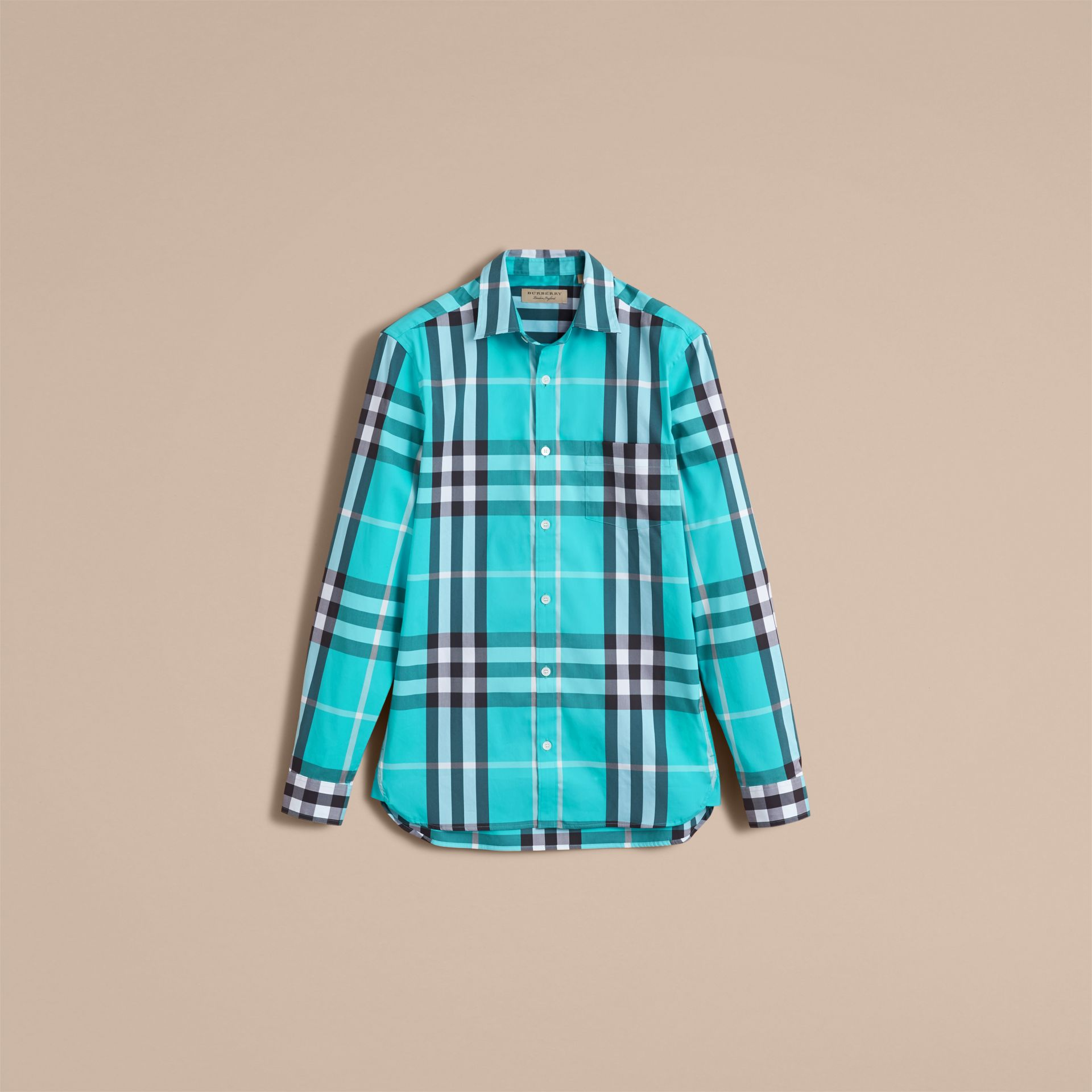 Check Stretch Cotton Shirt in Cyan Green - Men | Burberry - gallery image 4