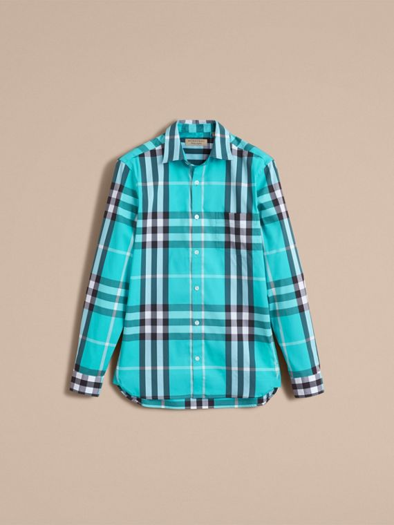 Check Stretch Cotton Shirt in Cyan Green - Men | Burberry Canada - cell image 3