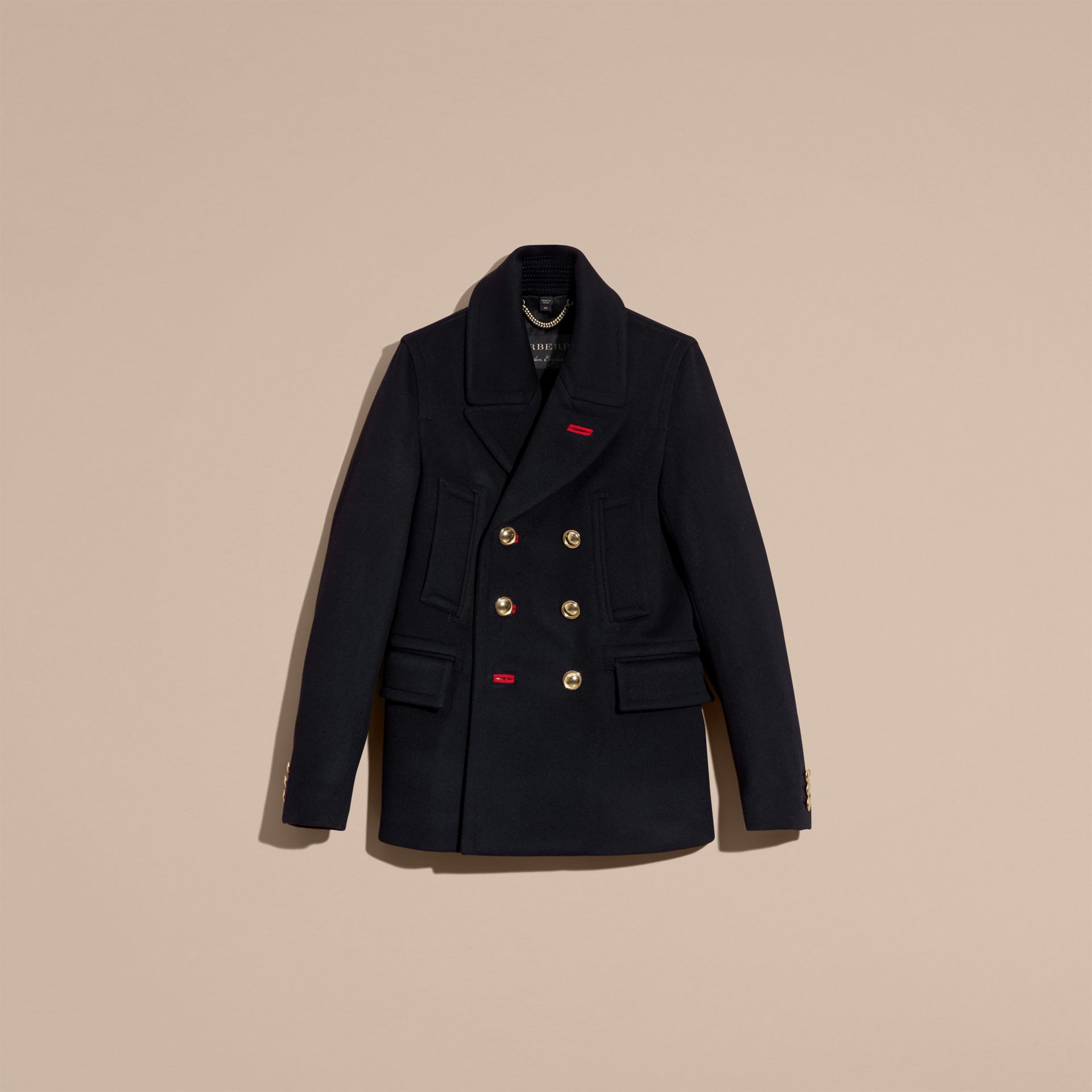 Navy Military Felted Wool Blend Pea Coat - gallery image 4