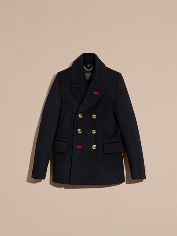 Navy Military Felted Wool Blend Pea Coat - cell image 3