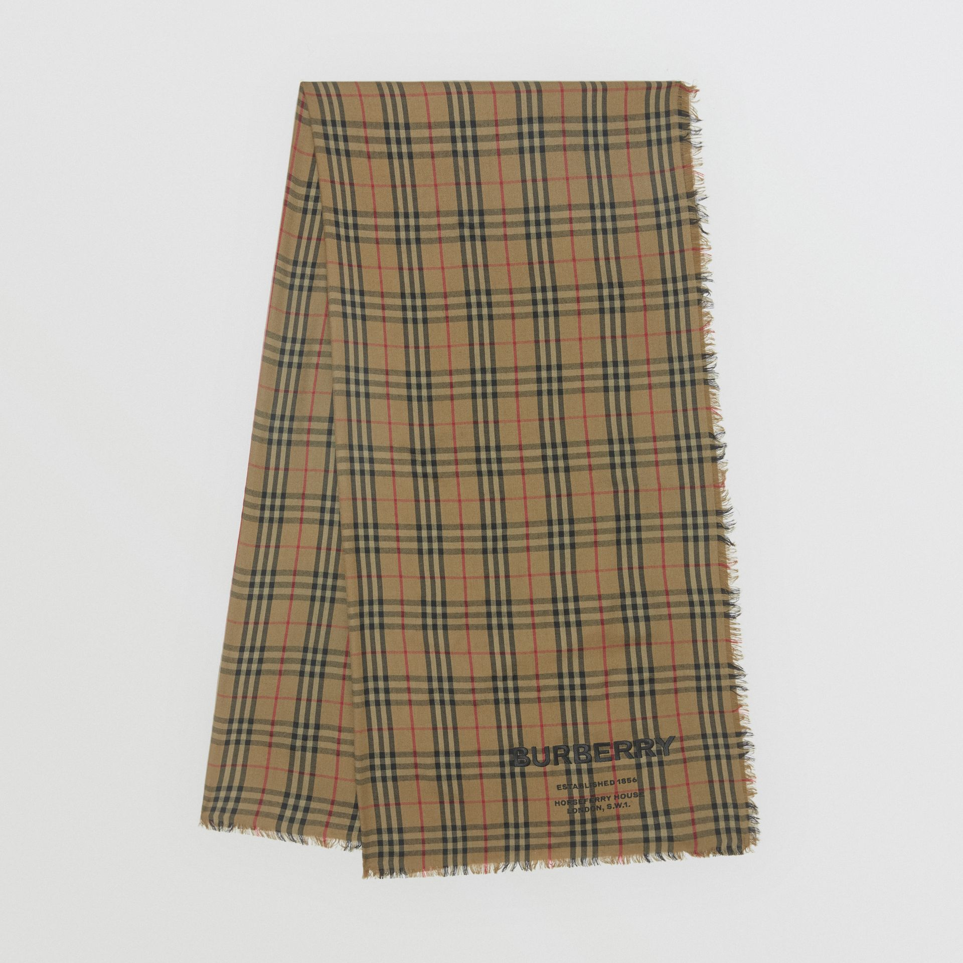 Embroidered Vintage Check Lightweight Cashmere Scarf in Olive Green | Burberry Singapore - gallery image 0