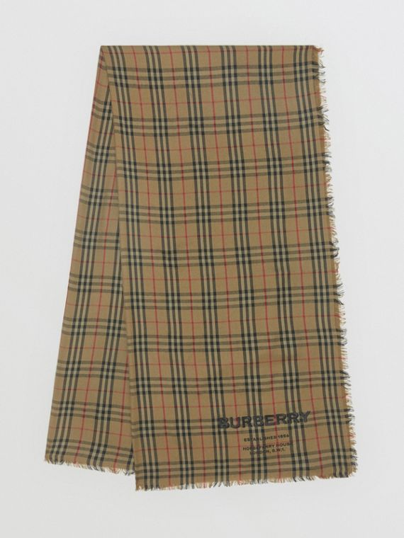 Embroidered Vintage Check Lightweight Cashmere Scarf in Olive Green