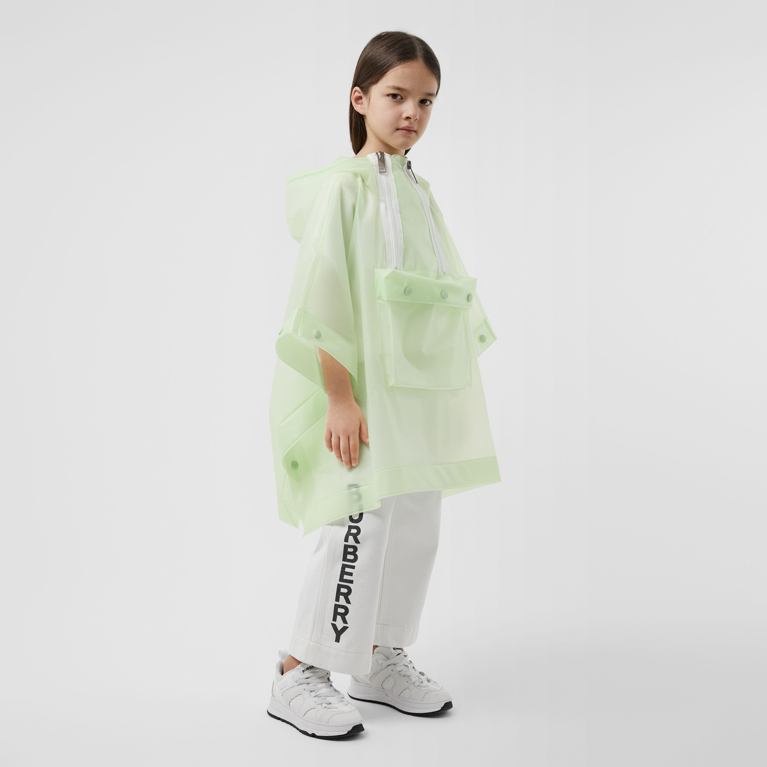Logo Print Showerproof Hooded Poncho in Pistachio | Burberry - 3