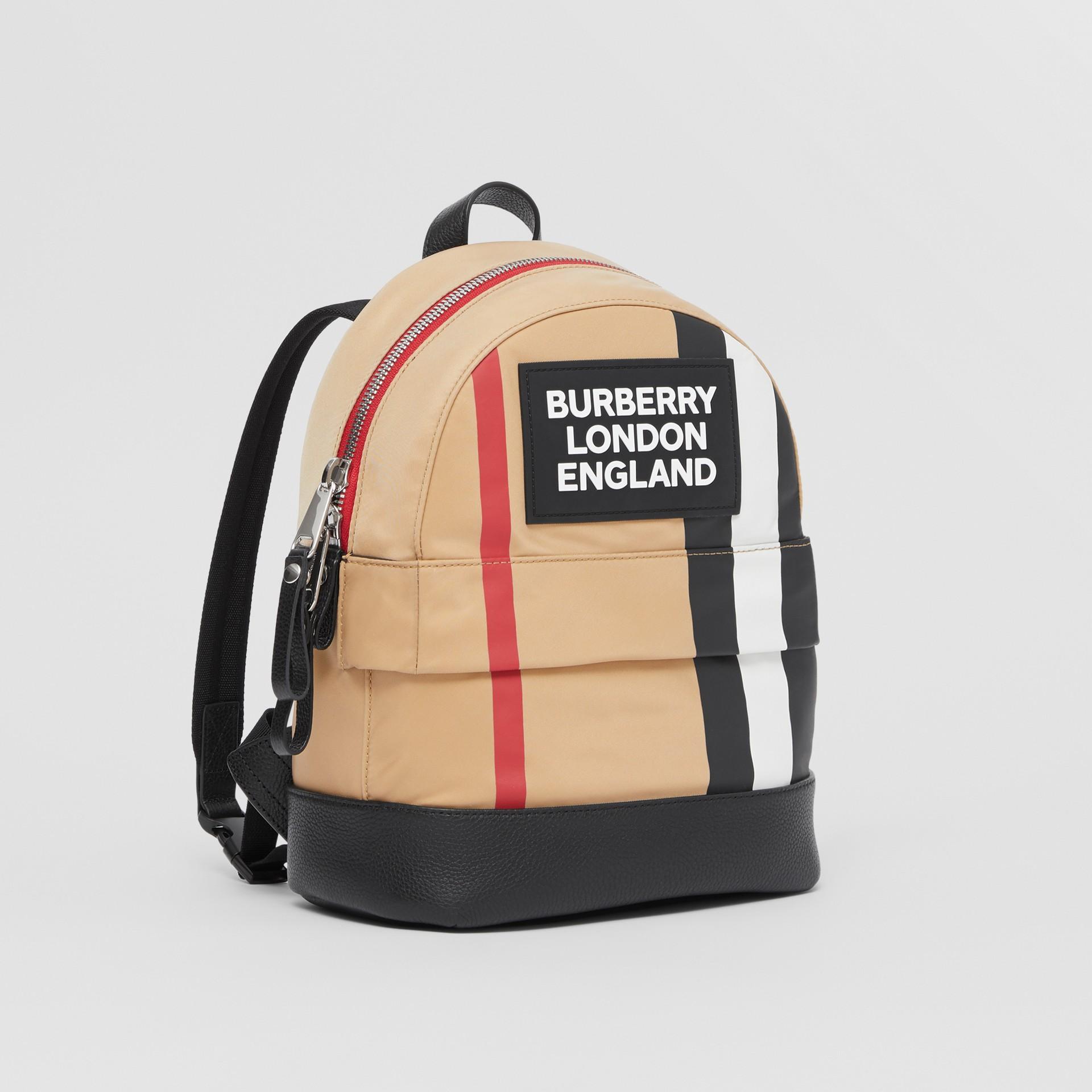 Logo Appliqué Icon Stripe ECONYL® Backpack in Archive Beige - Children | Burberry United Kingdom - gallery image 4