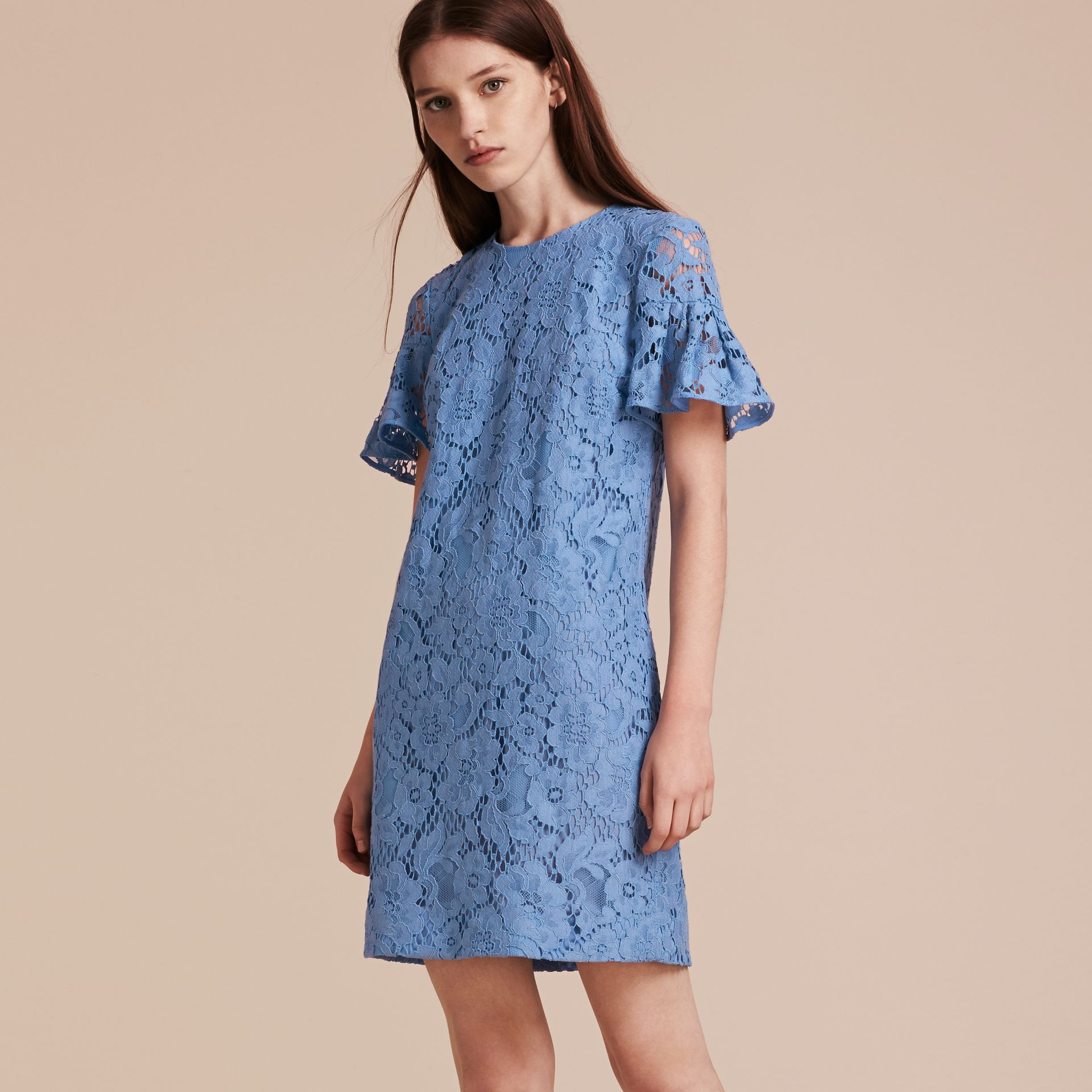 Cornflower Macramé Lace Short Shift Dress with Ruffle Sleeves Cornflower - gallery image 6