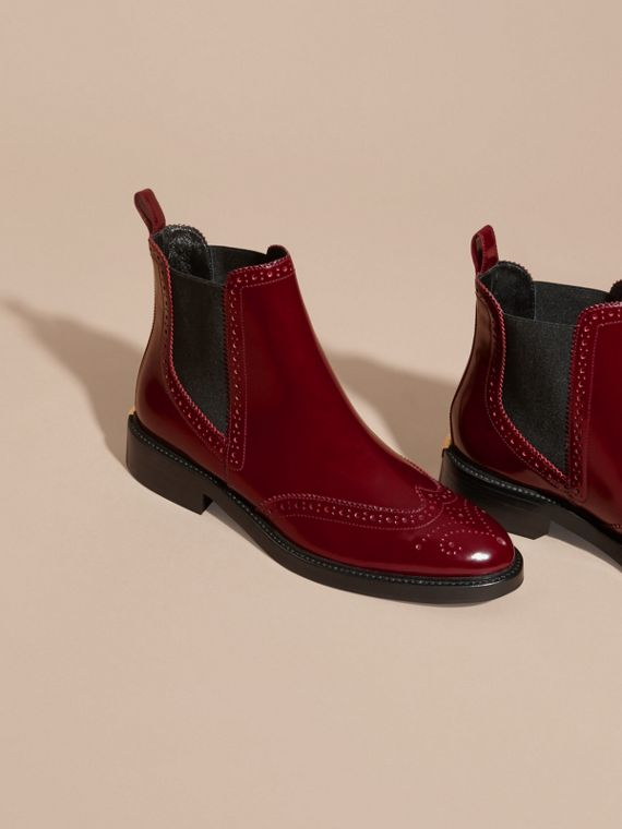 Mahogany red Leather Wingtip Chelsea Boots - cell image 2