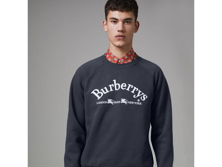 Embroidered Archive Logo Jersey Sweatshirt in Navy - Men | Burberry - cell image 4