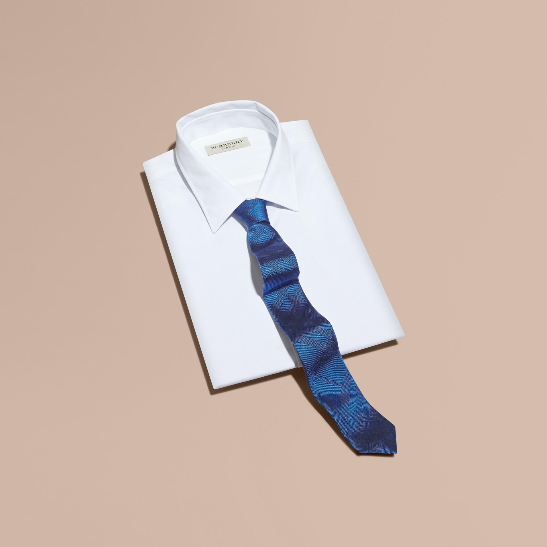 Bright hydrangea blue Slim Cut Check Silk Tie Bright Hydrangea Blue - gallery image 3