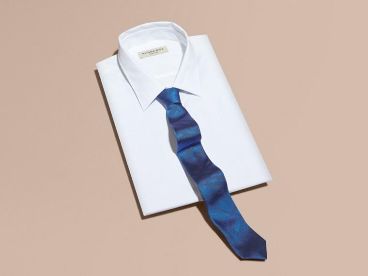 Bright hydrangea blue Slim Cut Check Silk Tie Bright Hydrangea Blue - cell image 2