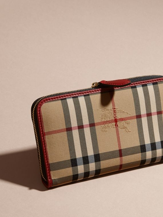 Horseferry Check and Leather Ziparound Wallet in Parade Red - Women | Burberry Canada - cell image 3