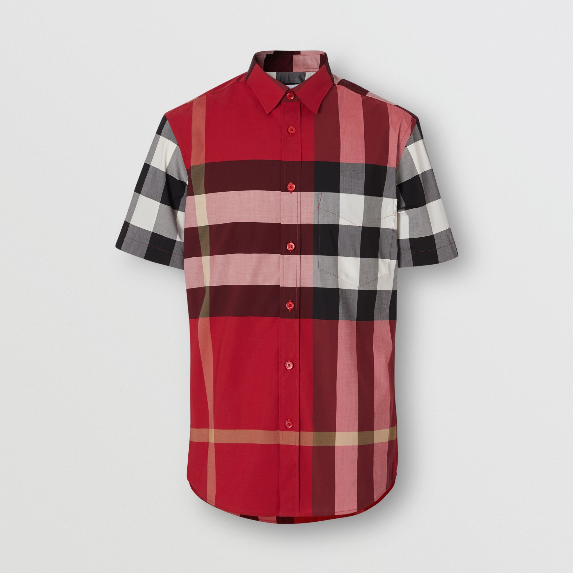 Short-sleeve Check Stretch Cotton Poplin Shirt in Parade Red - Men | Burberry Canada - gallery image 3