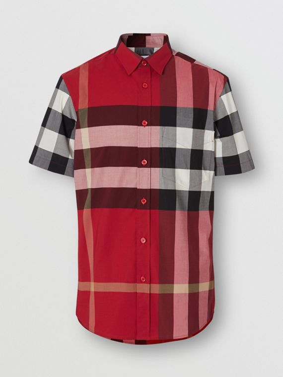 Short-sleeve Check Stretch Cotton Poplin Shirt in Parade Red