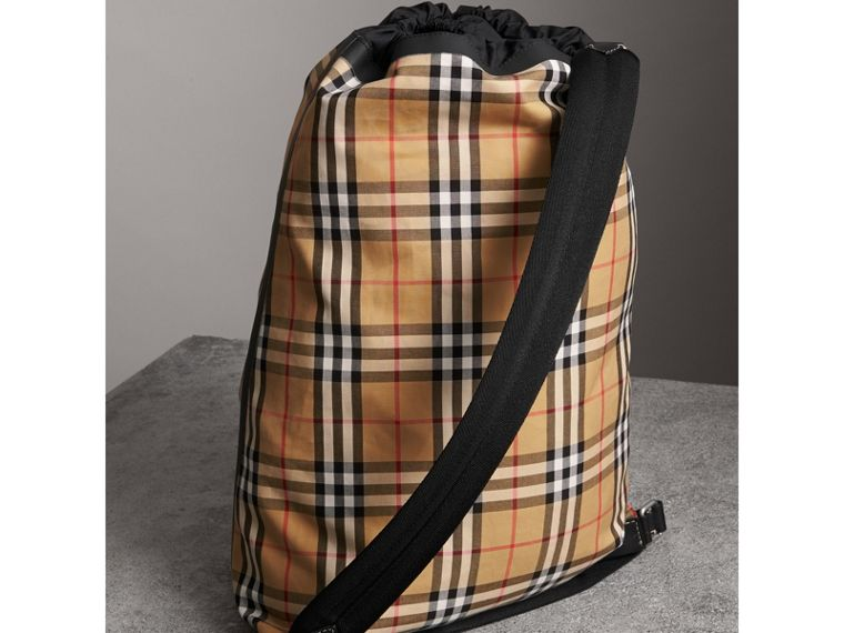 Medium Vintage Check Cotton Duffle Bag in Antique Yellow - Women | Burberry - cell image 4