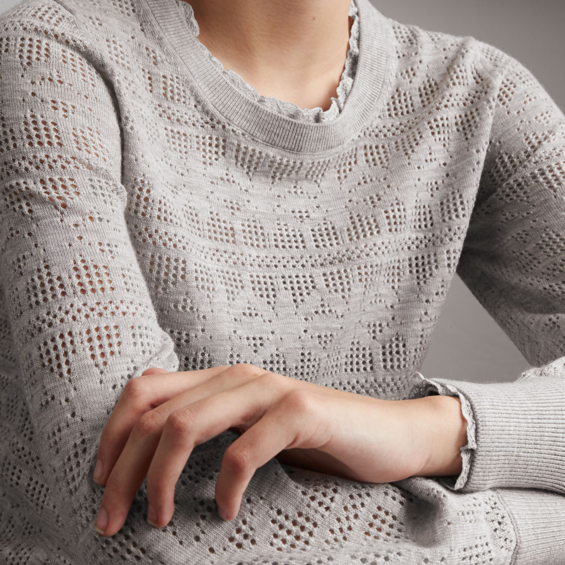 Lace Trim Pointelle Wool Cashmere Sweater in Light Grey Melange - Women | Burberry - gallery image 5