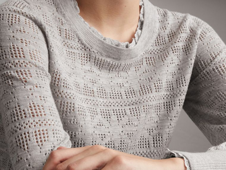 Lace Trim Pointelle Wool Cashmere Sweater in Light Grey Melange - Women | Burberry - cell image 4