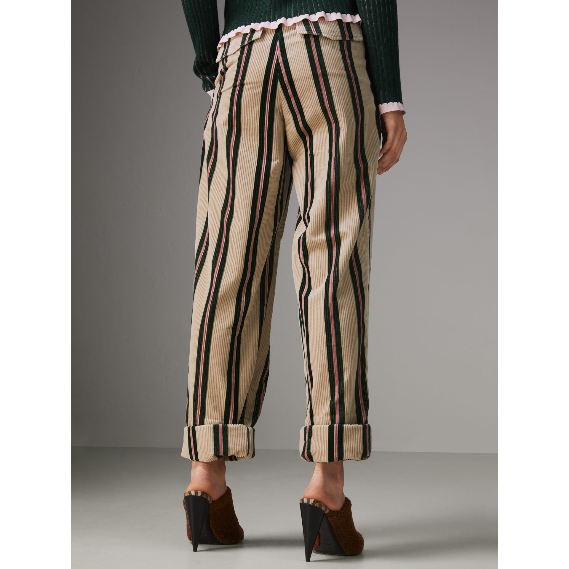 Roll-up Cuff Striped Corduroy Trousers in Stone - Women | Burberry - gallery image 2