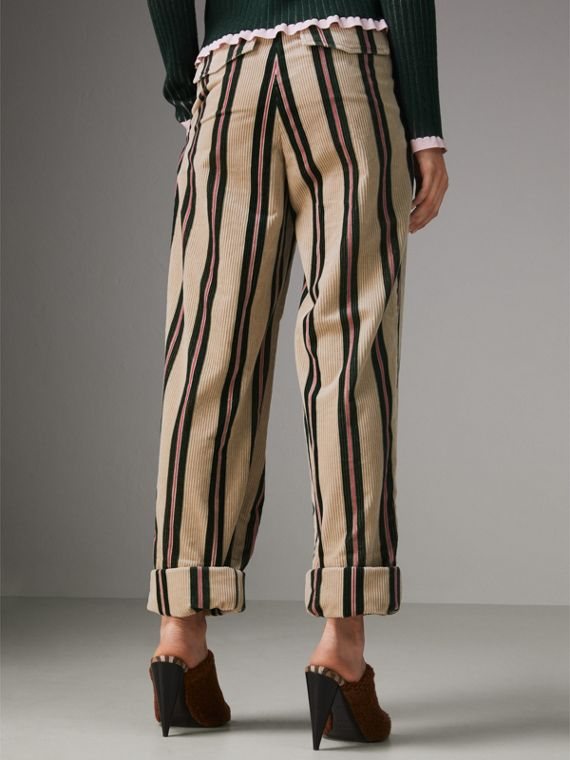 Roll-up Cuff Striped Corduroy Trousers in Stone - Women | Burberry Singapore - cell image 2