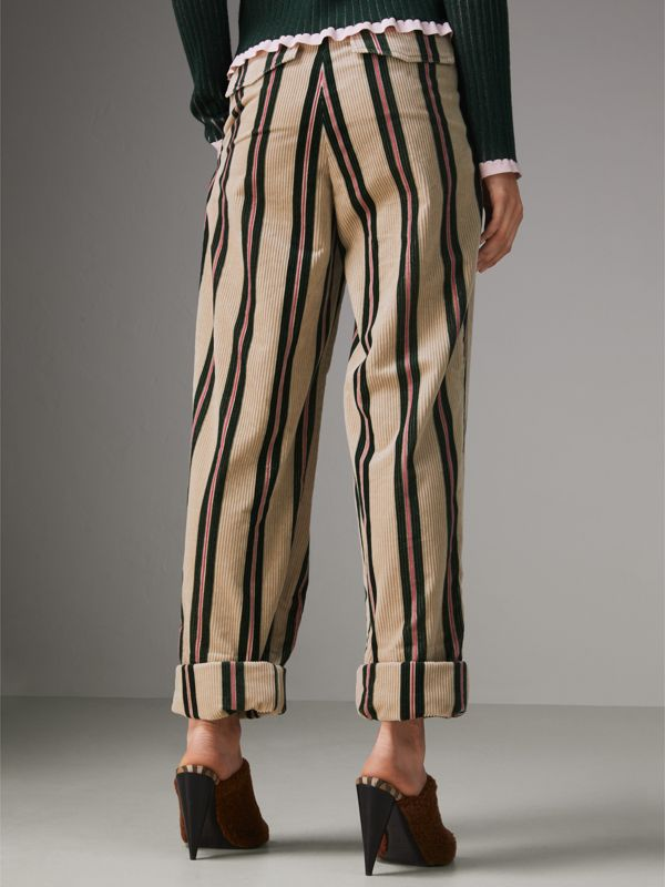 Roll-up Cuff Striped Corduroy Trousers in Stone - Women | Burberry - cell image 2