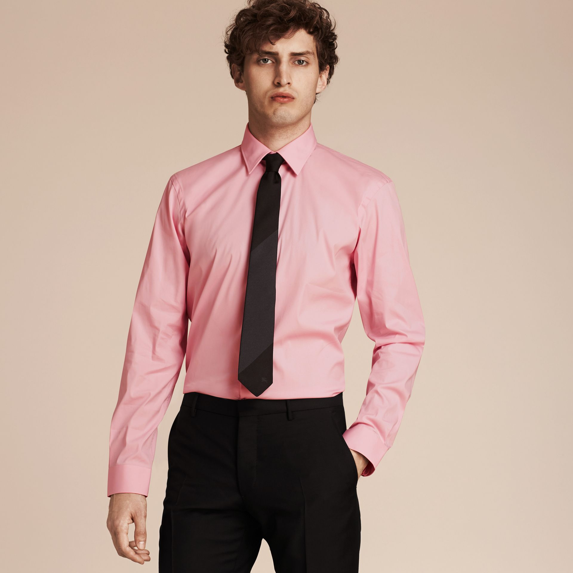 Modern Fit Stretch Cotton Shirt in City Pink - gallery image 1