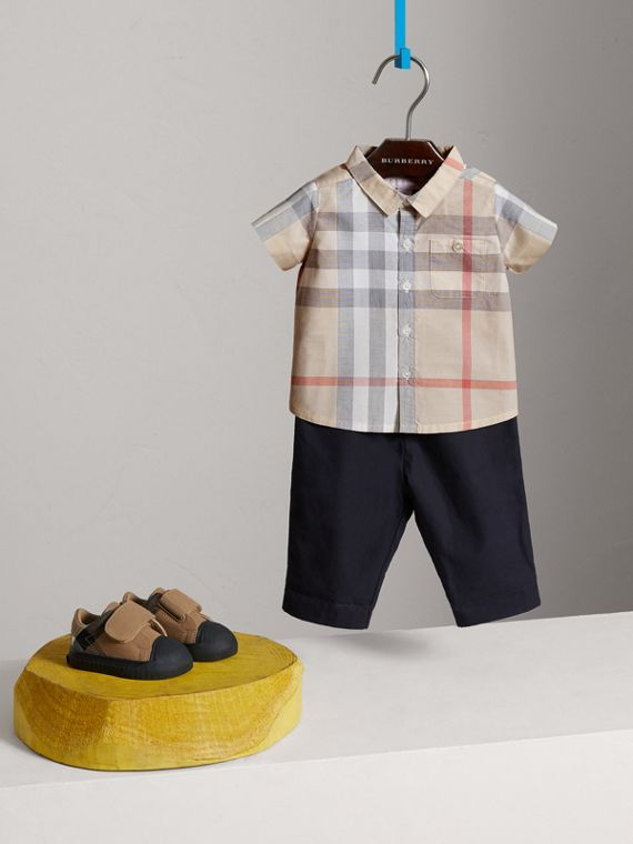 Washed Check Cotton Short Sleeve Shirt in Pale Classic - Boy | Burberry - cell image 2