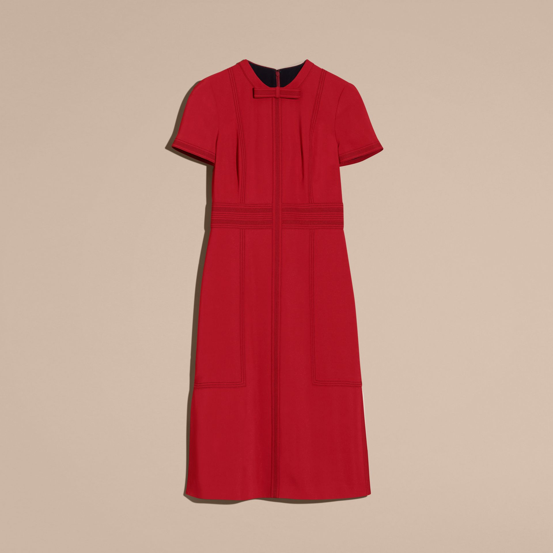 Parade red Short-sleeved Topstitch Detail Shift Dress - gallery image 4