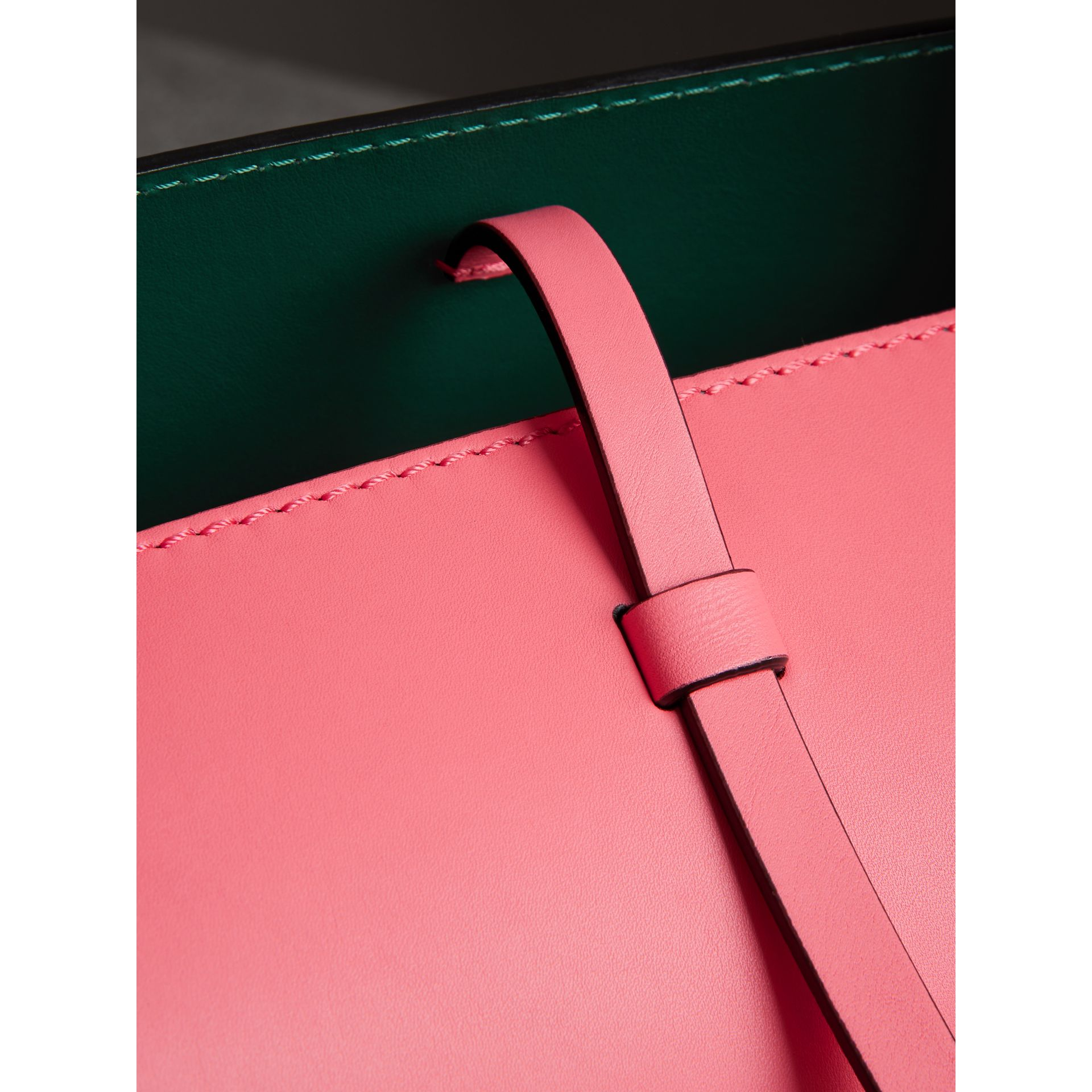 The Small Leather Bucket Bag in Bright Coral Pink - Women | Burberry United Kingdom - gallery image 5