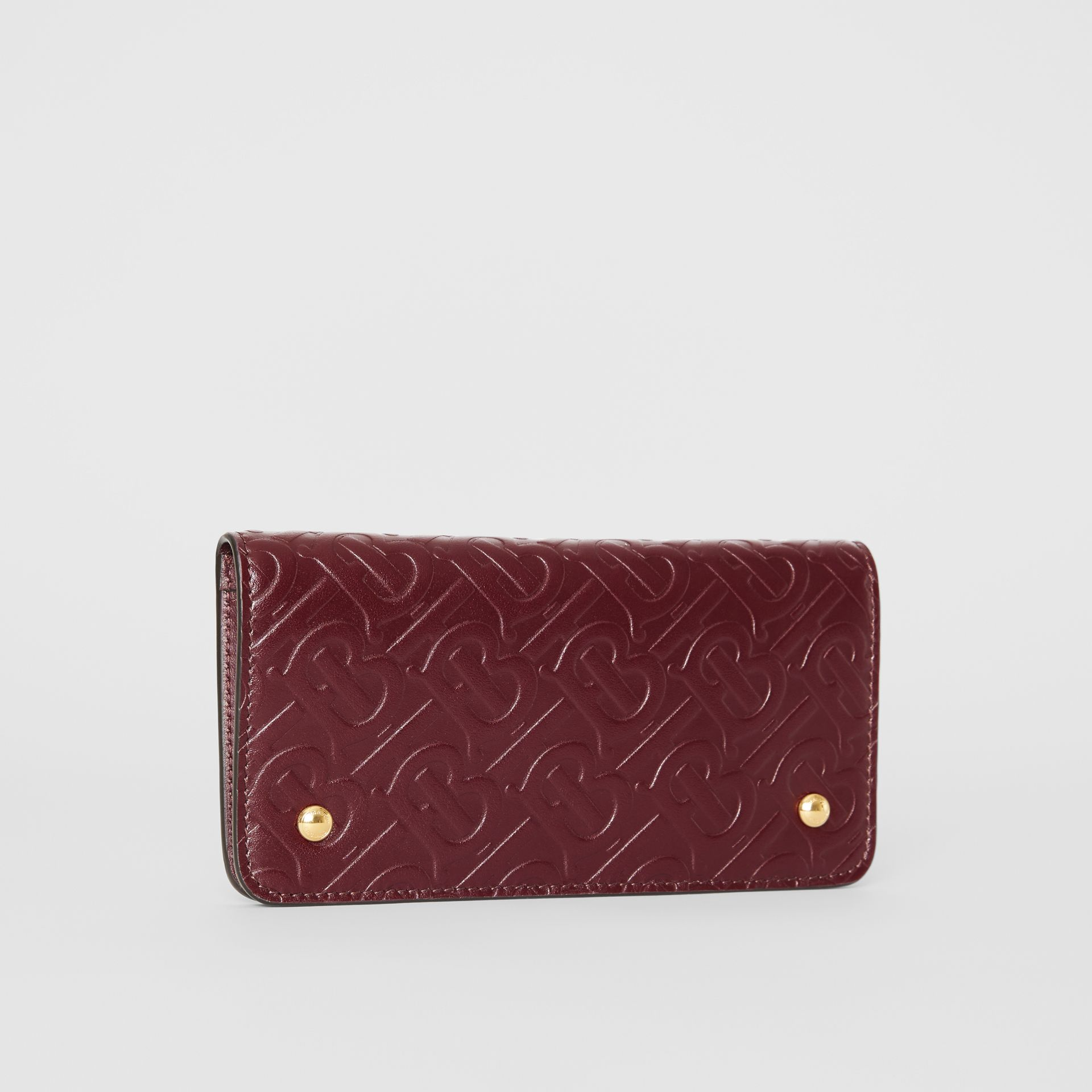 Monogram Leather Phone Wallet in Oxblood - Women | Burberry - gallery image 4