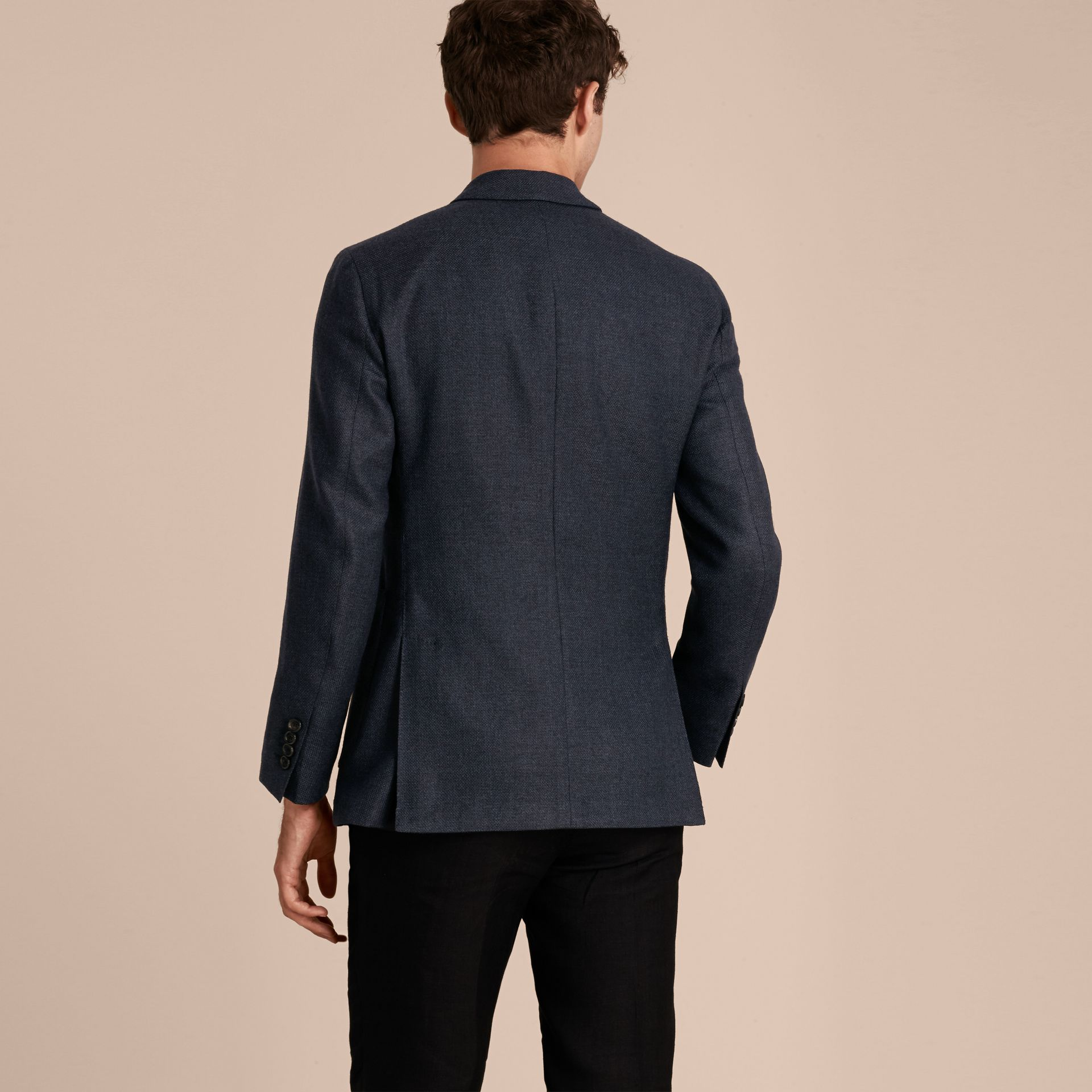 Storm blue Modern Fit Wool Cashmere Hopsack Tailored Jacket - gallery image 3