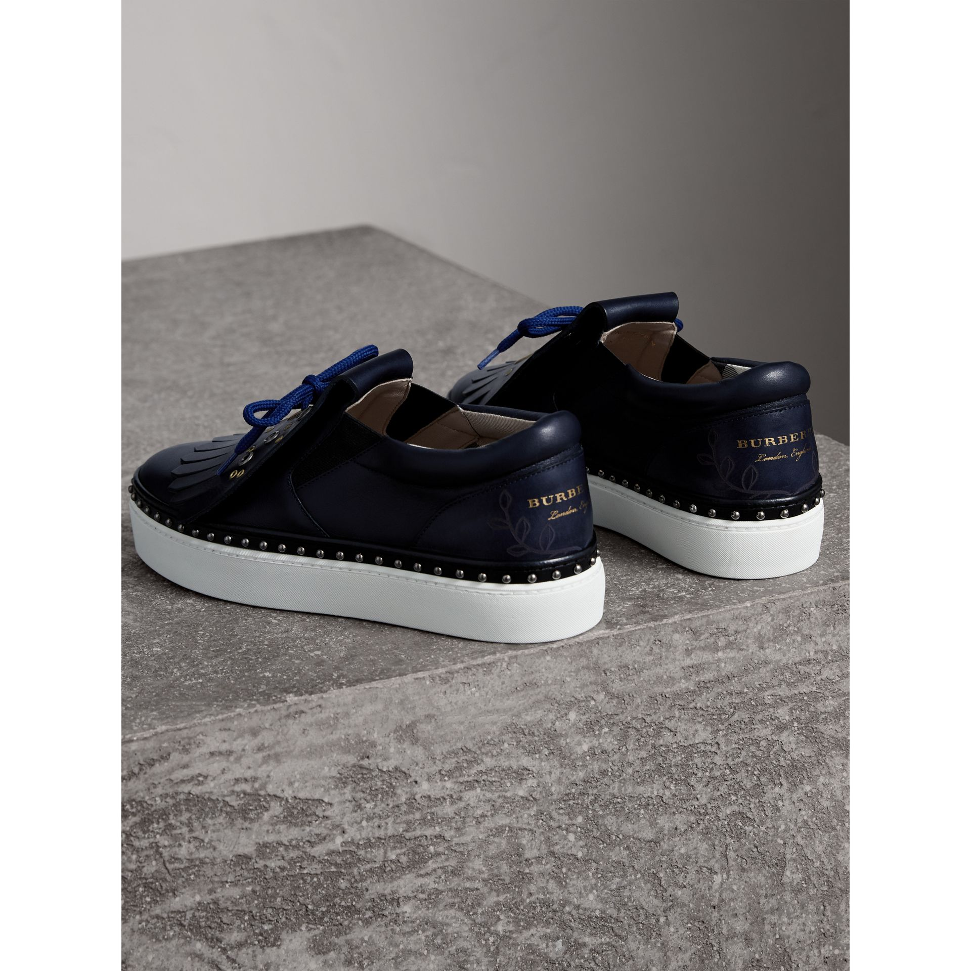 Kiltie Fringe Leather Trainers in Navy - Women | Burberry - gallery image 4