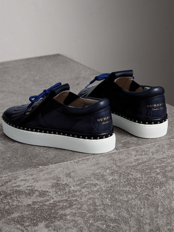 Kiltie Fringe Leather Trainers in Navy - Women | Burberry - cell image 3