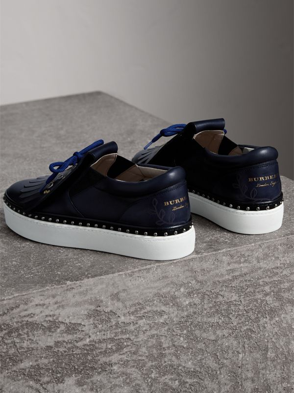 Kiltie Fringe Leather Sneakers in Navy - Women | Burberry United Kingdom - cell image 3