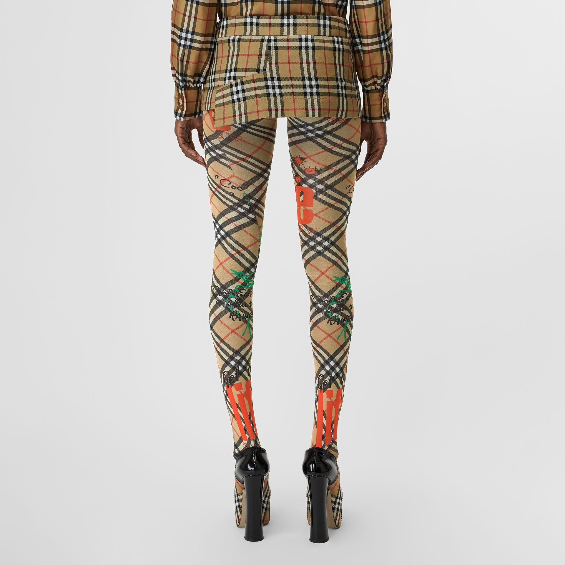 Vintage Check Wool Twill Mini Skirt in Antique Yellow | Burberry - gallery image 2