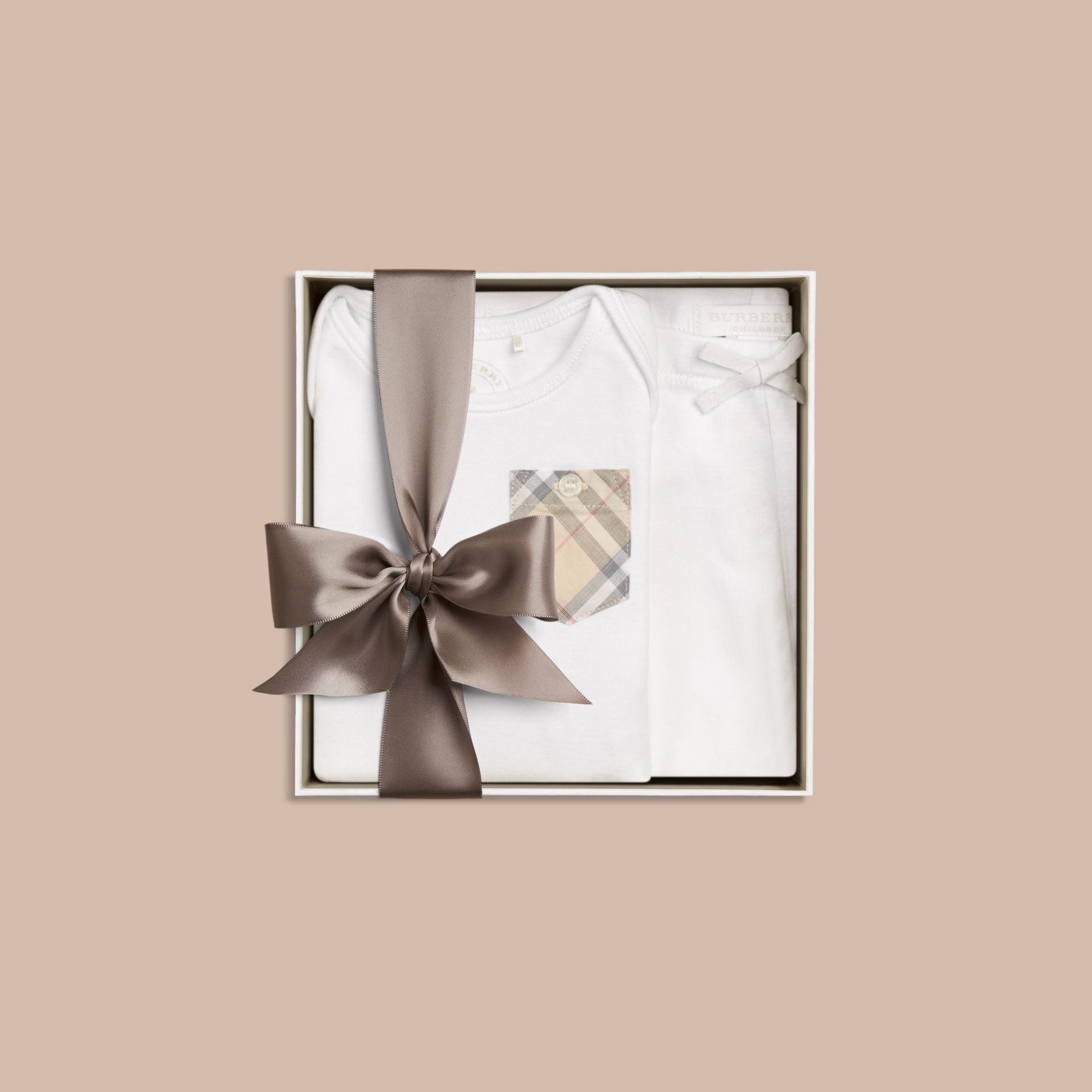 White Two-piece Cotton Baby Gift Set - gallery image 3
