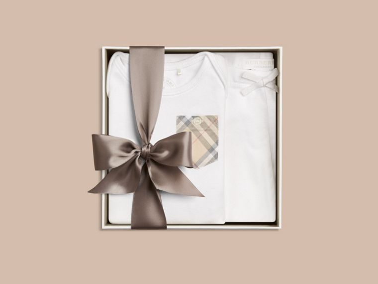 White Two-piece Cotton Baby Gift Set - cell image 2