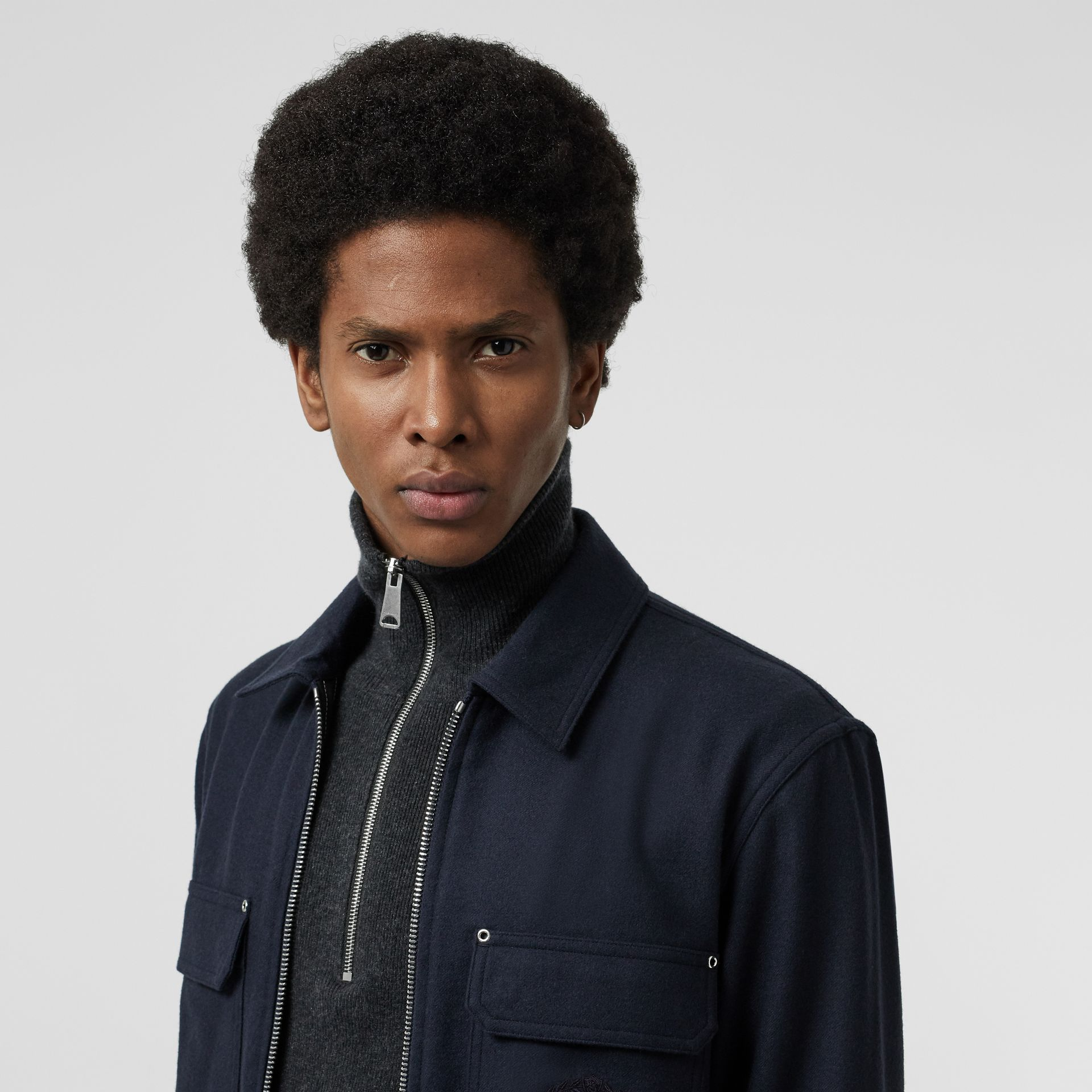 Embroidered Crest Wool Overshirt in Navy - Men | Burberry - gallery image 1