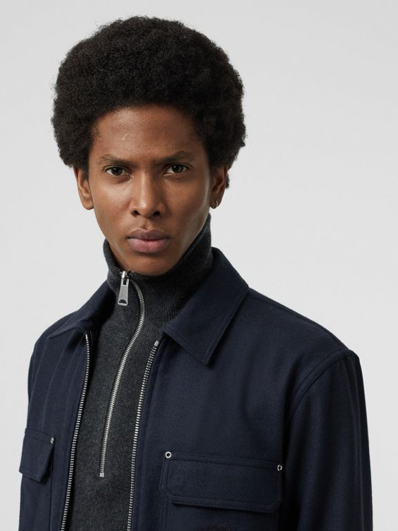 Embroidered Crest Wool Overshirt in Navy - Men | Burberry - cell image 1