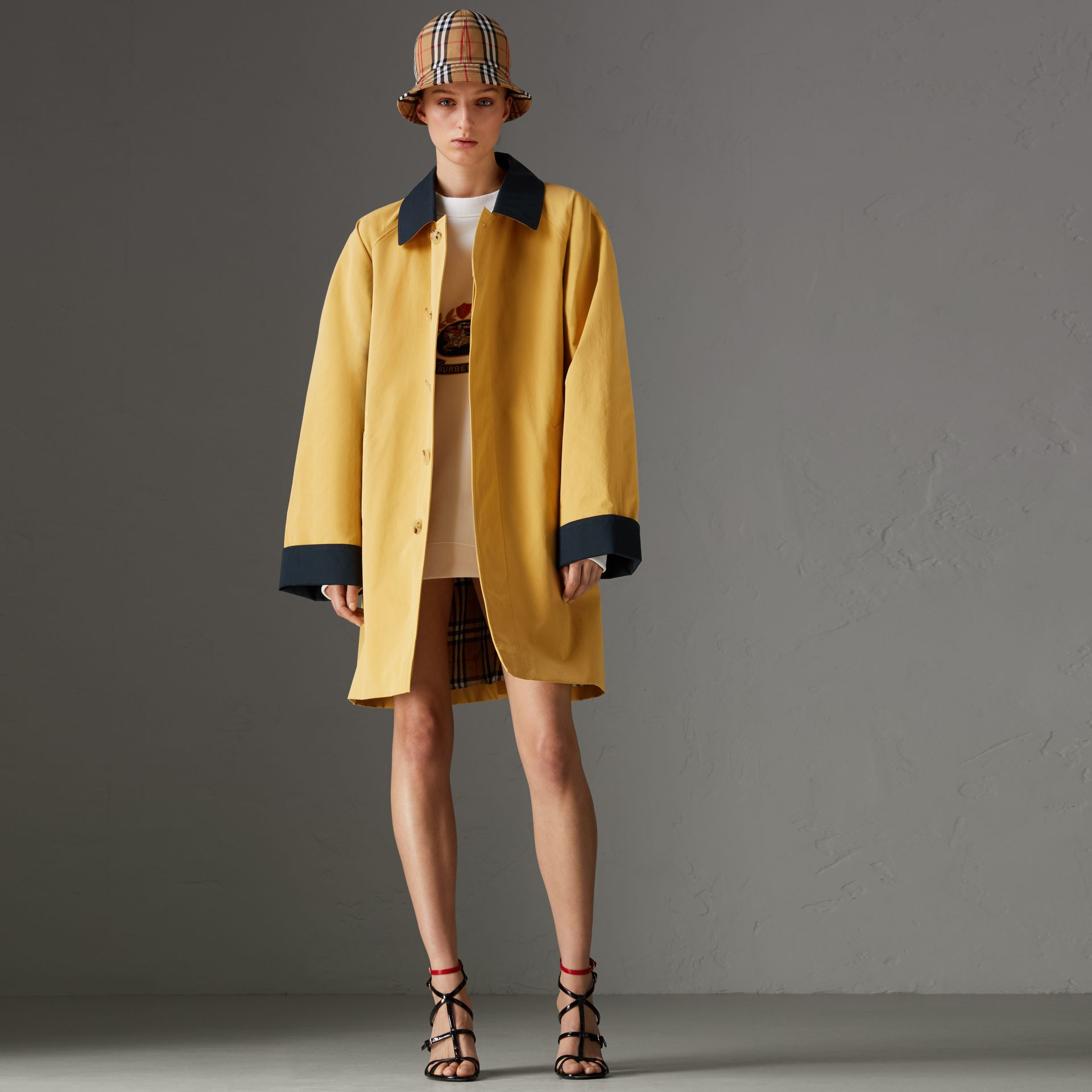 Reissued Waxed Cotton Gabardine Car Coat in Yellow - Women | Burberry United Kingdom - gallery image 0