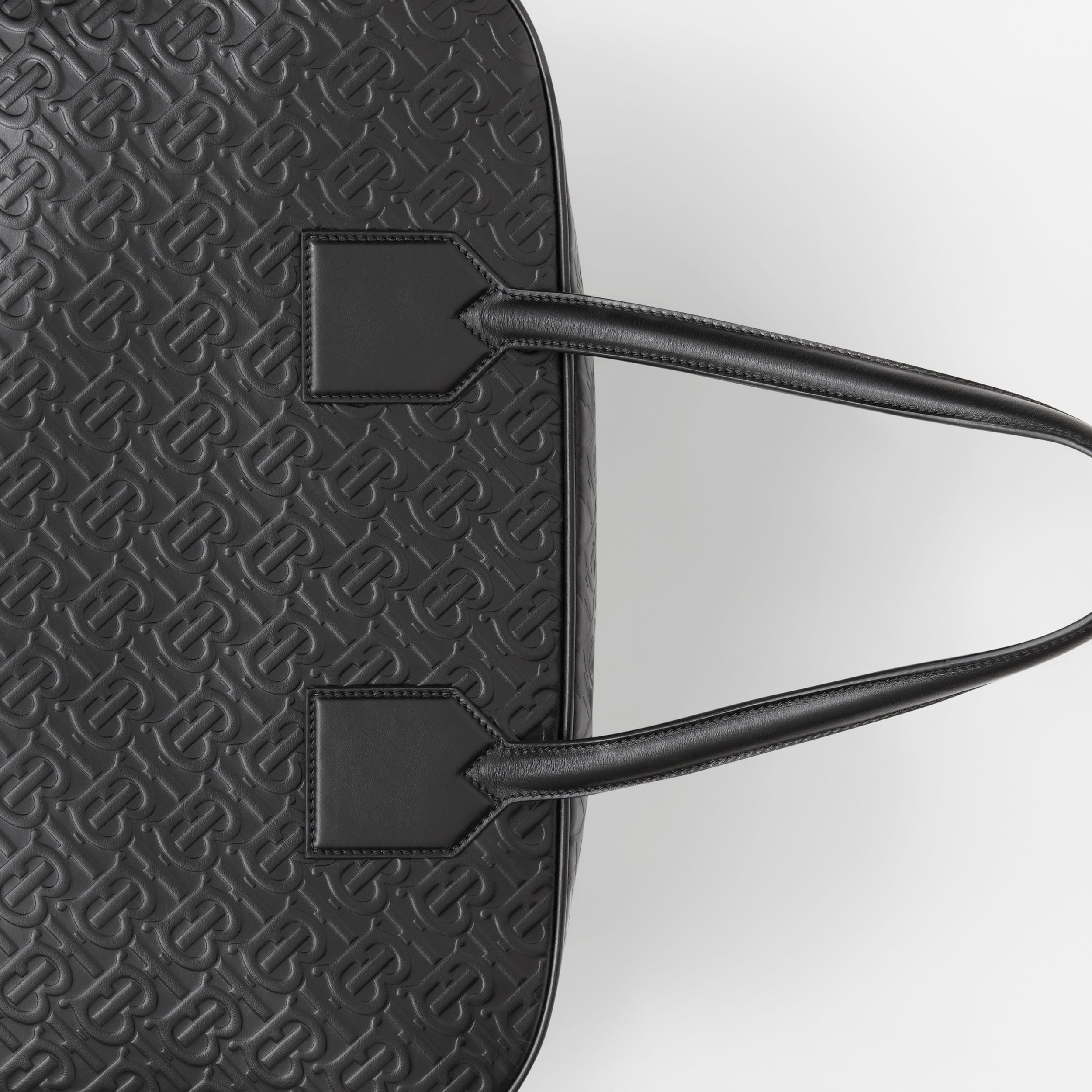 Large Monogram Leather Cube Bag in Black | Burberry - 2